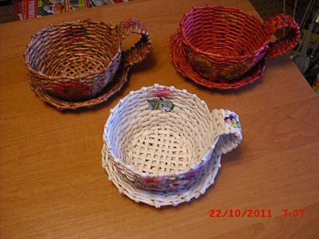 Плетение из газет чайный комплект